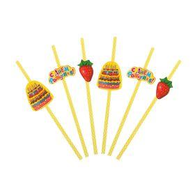 """Трубочки для коктейля """"С Днём Рождения"""", тортик, (набор 6 шт.)"""