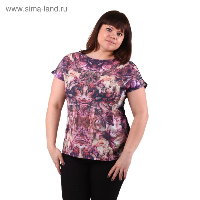 Блузка-топ женская 51100276 С+, размер 58(5XL), рост 170см, цвет бордо