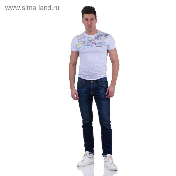 Футболка мужская, цвет белый/принт, размер L, супрем, фуллайкра (арт. 857-03)