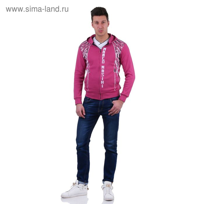 Куртка спортивная мужская, цвет фуксия, размер M, интерлок (арт. 514)