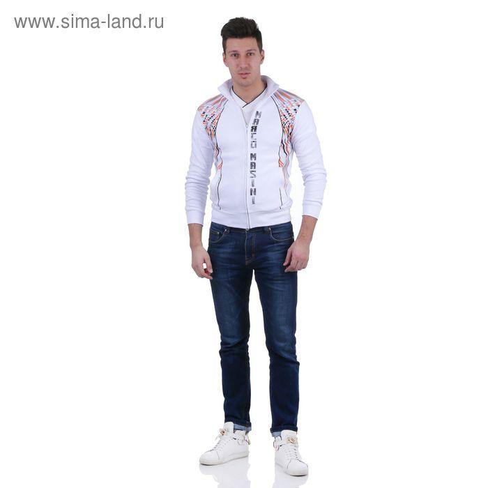 Куртка спортивная мужская, цвет белый, размер M, интерлок (арт. 515)