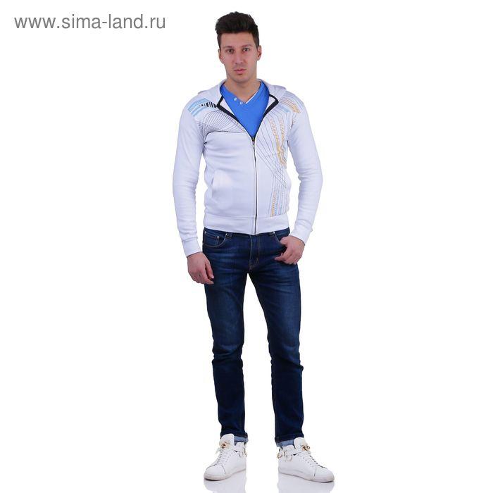 Куртка спортивная мужская, цвет белый, размер XL, интерлок (арт. 514)