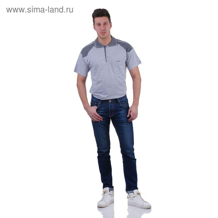 Футболка мужская поло, цвет серый меланж, размер XL, супрем (арт. 307)
