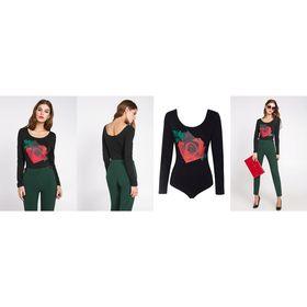 Блузка-боди женская 10200100010, размер 42 (XS), рост 170 см, цвет черный Ош