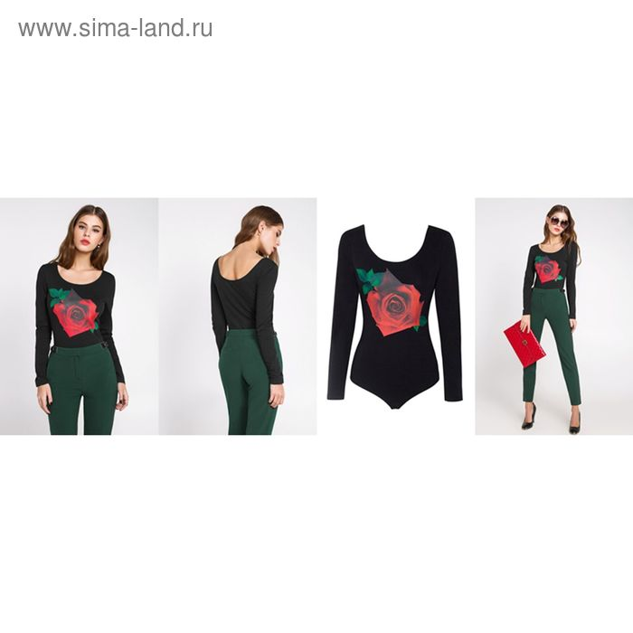 Блузка-боди женская 10200100010, размер 42 (XS), рост 170 см, цвет черный