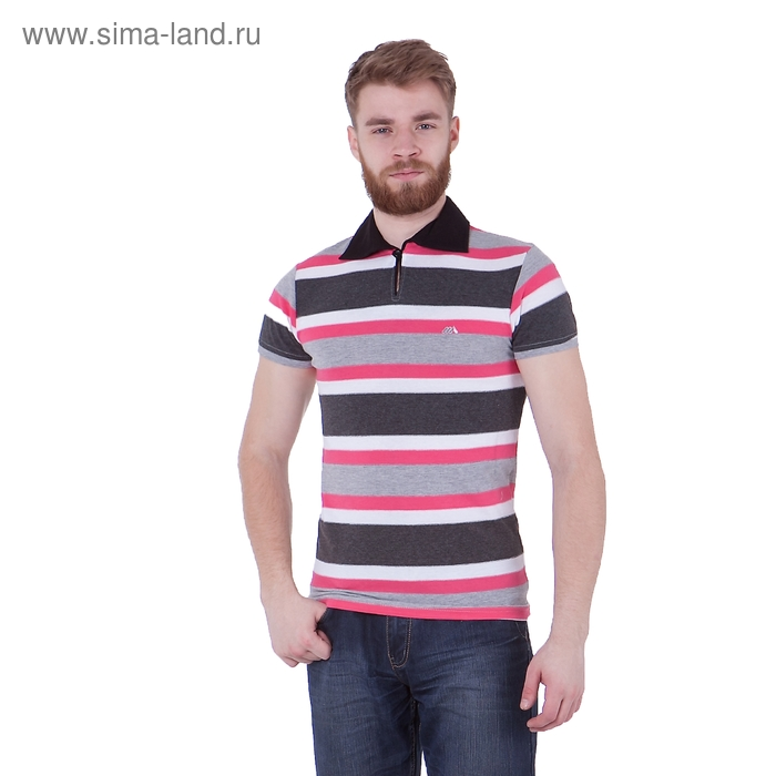 Футболка мужская поло, цвет розовый/полоска, размер M, супрем (арт. 893)
