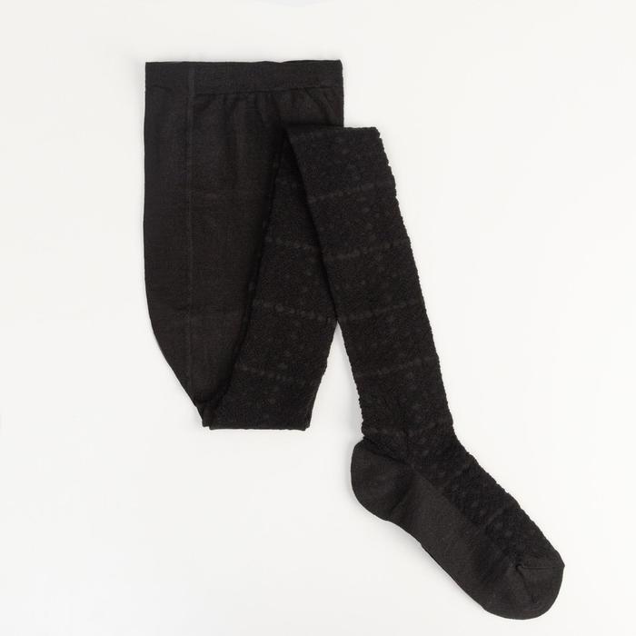 Колготки детские ажурные 2ФС73-009, цвет черный, рост 128-134 см - фото 76185832