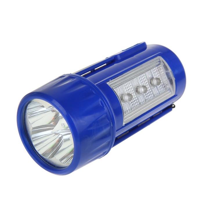 Фонарик аккумуляторный с подставкой, 7 диодов, 2 света, микс