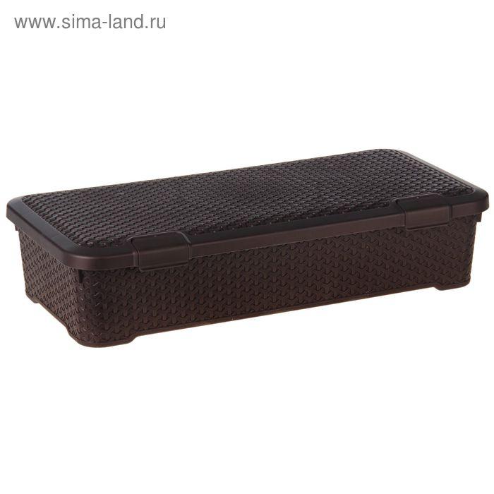 """Ящик для хранения с крышкой, прямоугольный 79х38х17,5 см """"Люкс"""", цвет коричневый"""