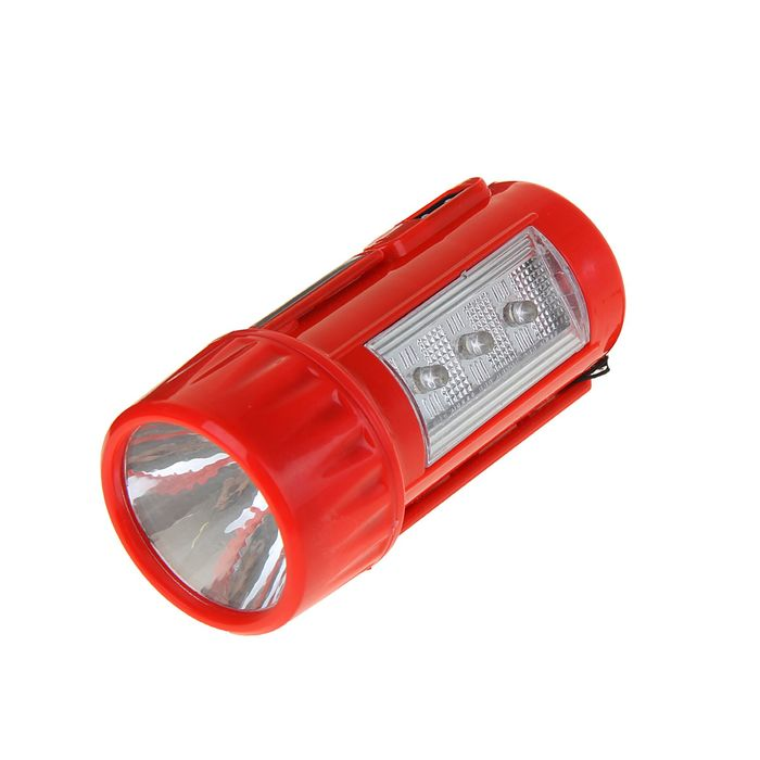 Фонарик 220 В аккумуляторный, 3+1 диода, подставка 2 света, зарядка от сети, микс, 11 см