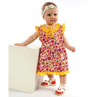 """Платье """"Цветочная полянка"""", рост 74 см (48), цветы на белом/желтый ДПК460001н"""
