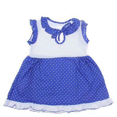 Платье для девочки, рост 80 см (50), цвет белый/синий/горох ДПК460001н