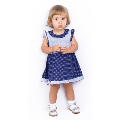 Платье для девочки, рост 86 см (52), цвет серый/синий/горох ДПК461001н