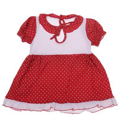 Платье для девочки, рост 92 см (54), цвет белый/красный/горох