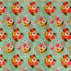 """Клеенка столовая с ПВХ покрытием, на тканевой основе, ширина 128 см """"Цветы на плетенке"""", рулон 25 м, цвет светло-зеленый"""