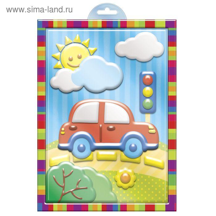 """Аппликация пластилином """"Машинка"""" в пластиковой форме + 6 цветов пластилина по 10 гр, стек"""
