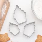 """Набор форм для вырезания печенья """"Пироженка"""", 3 шт"""