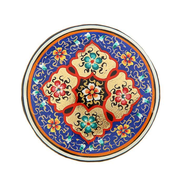 Магнит сувенирный круглый, синий с золотом 5 см