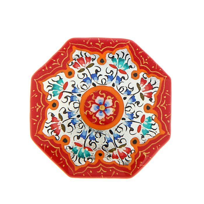 Магнит сувенирный восьмиугольный, красный с серебром, 5 см
