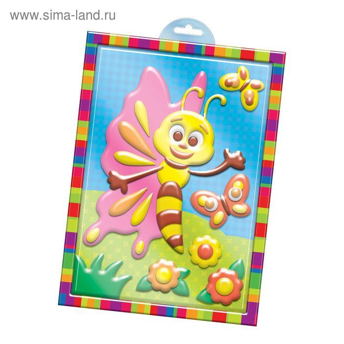 """Аппликация пластилином """"Бабочка"""" в пластиковой форме + 6 цветов пластилина по 10 гр, стек"""