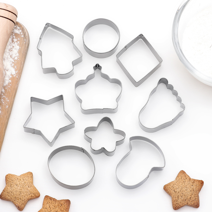 """Набор форм для вырезания печенья """"Ассорти"""", 9 шт - фото 145786219"""