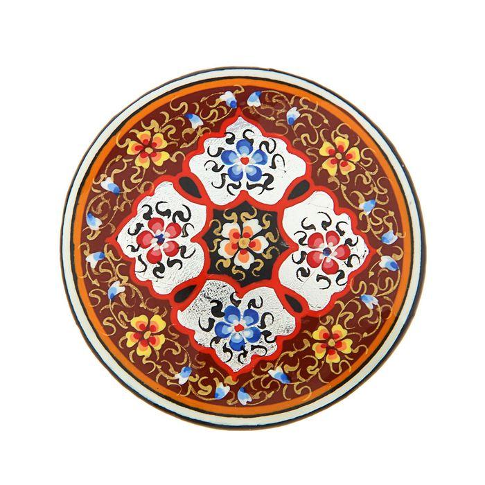 Магнит сувенирный круглый, бронза с серебром 5 см