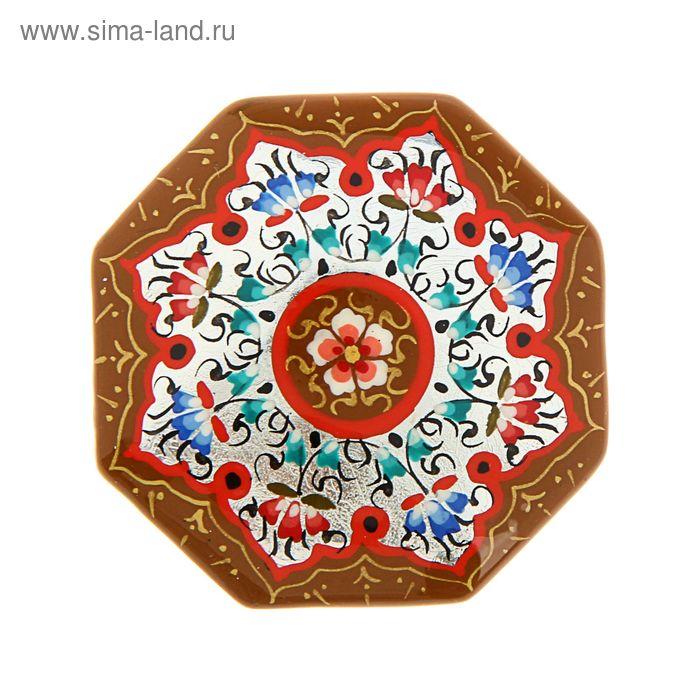 Магнит сувенирный восьмиугольный, коричневый с серебром, 5 см