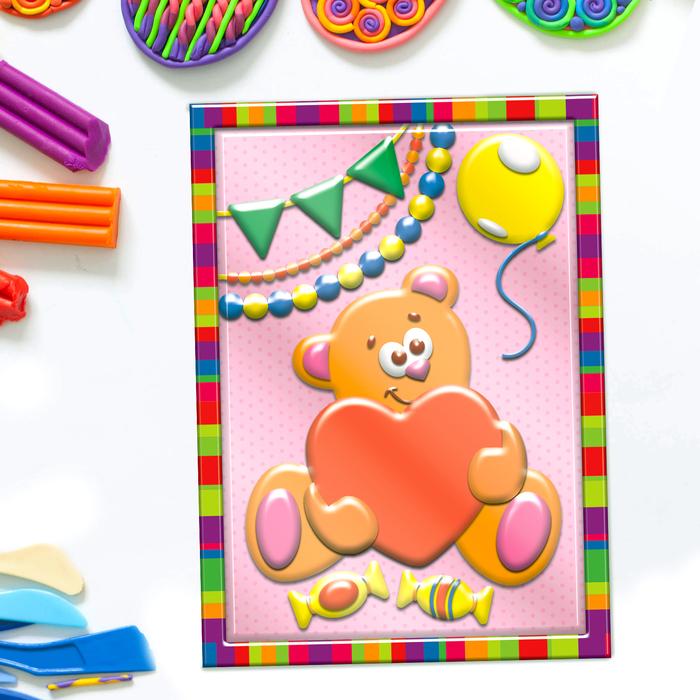 """Аппликация пластилином """"Мишка"""" в пластиковой форме + 6 цветов пластилина по 10 гр, стек"""