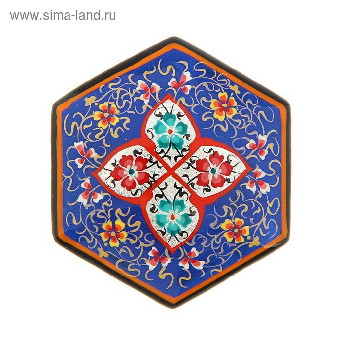Магнит сувенирный шестиугольный, синий с серебром, 5 см