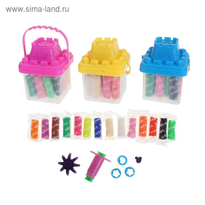 Тесто для лепки 14 цветов по 17 гр. + 6 предметов, банка-копилка, цвета МИКС