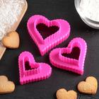 "Набор форм для вырезания печенья 9х9х4 см ""Сердце"", 3 шт, цвета МИКС - фото 151232484"