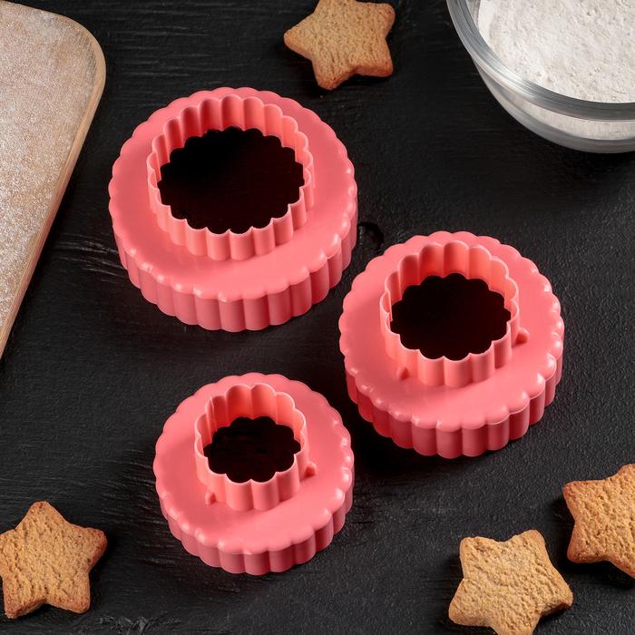 """Набор форм для вырезания печенья 8,5х4,5 см """"Ромашка"""", 3 шт, цвета МИКС - фото 308034017"""