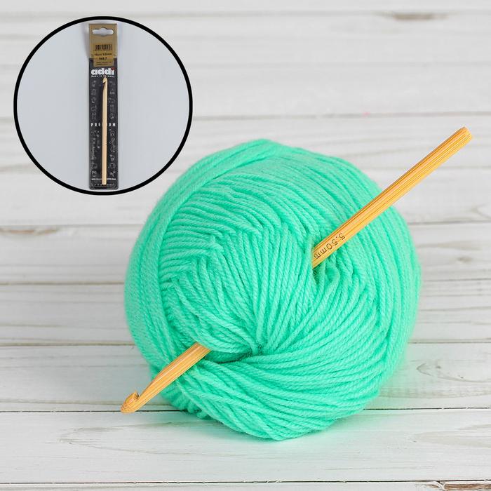 Крючок для вязания, бамбуковый, d = 5,5 мм, 15 см