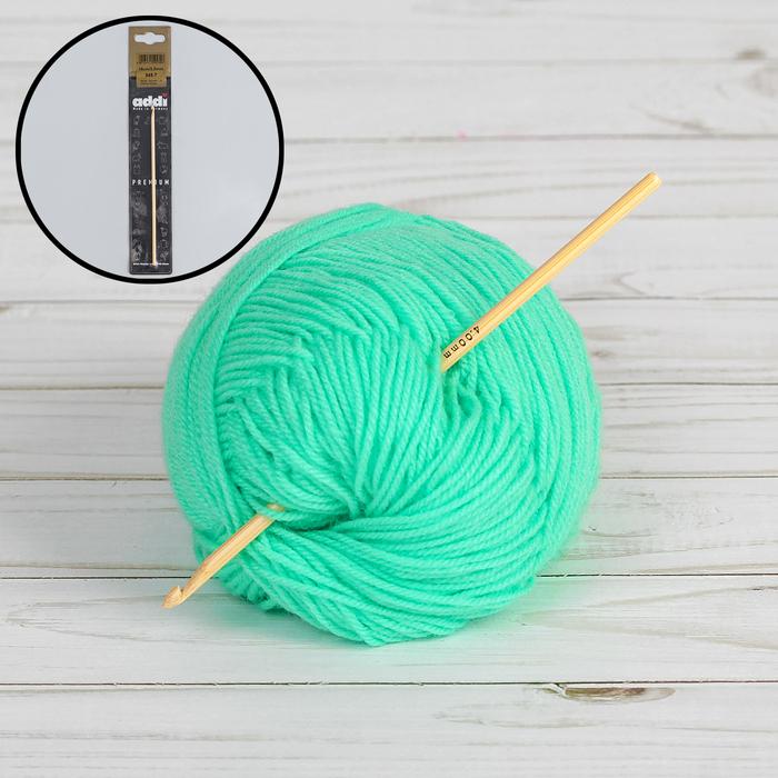 Крючок для вязания, бамбуковый, d = 3 мм, 15 см