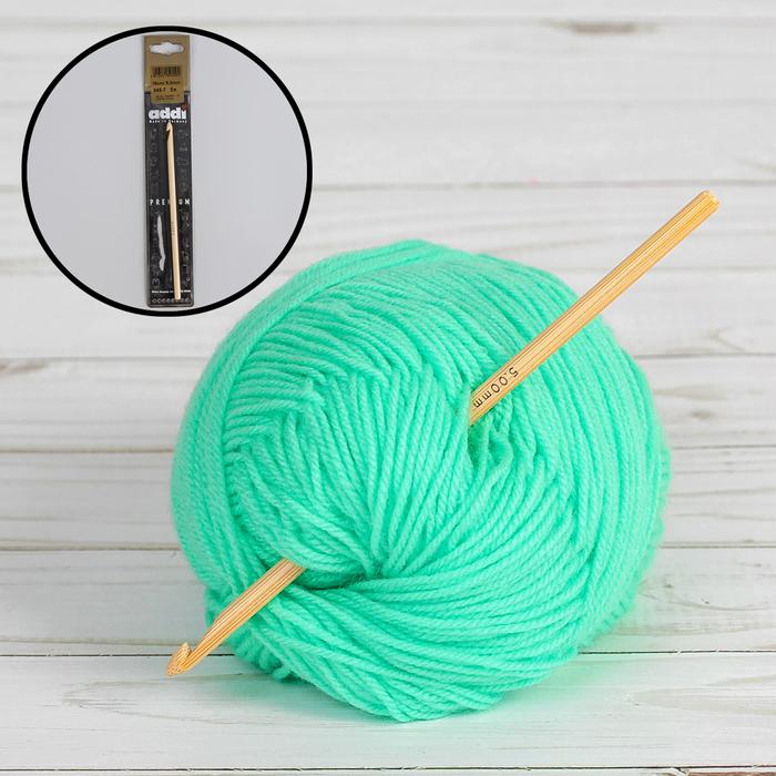 Крючок для вязания, бамбуковый, d = 5 мм, 15 см