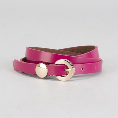 """Belt ladies """"Susie"""" smooth, buckle and yoke in gold, width - 1.5 cm, color raspberry"""