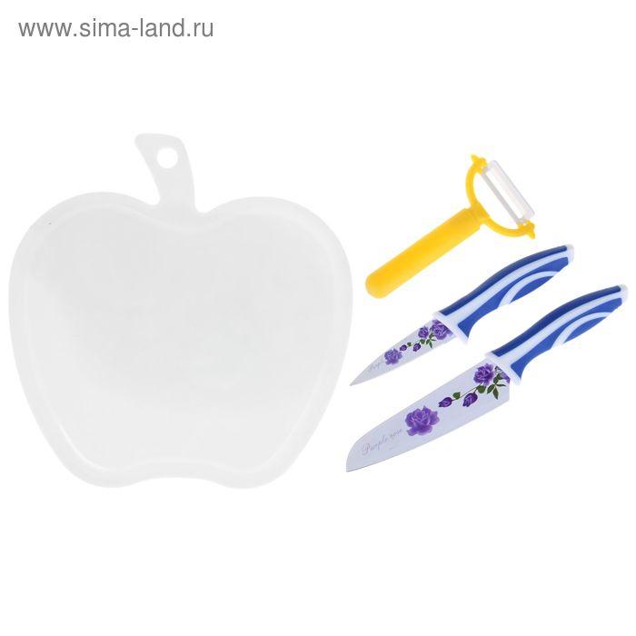 Набор ножей 4 предмета: 2 ножа 9,13 см,доска разделочная 26,5*25 см, овощечистка