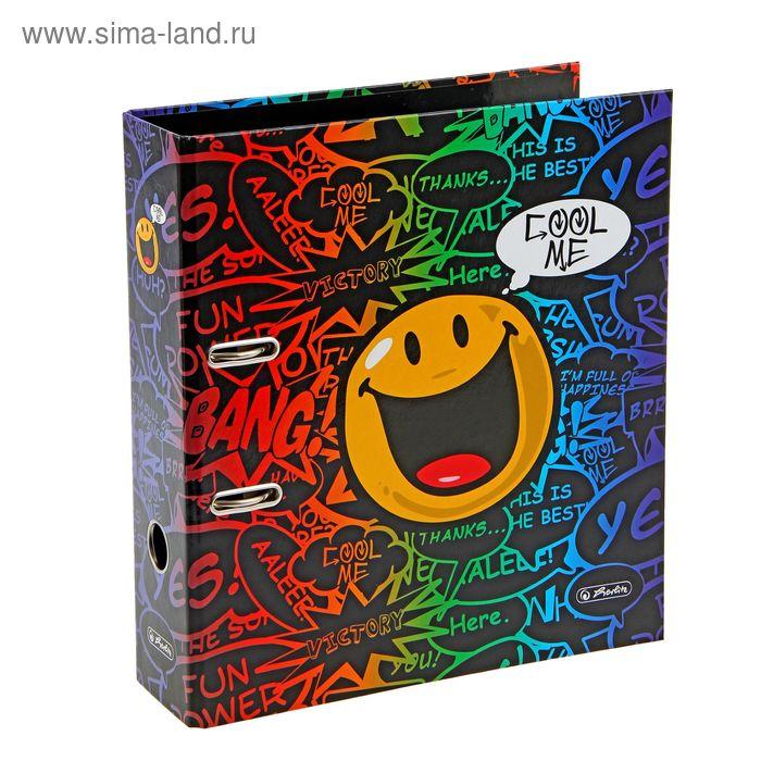 Папка-регистратор 80мм Herlitz maX.file Smiley Disco, ламинированный картон
