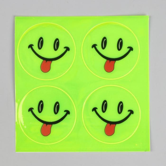 """Светоотражающая наклейка """"Смайл"""", d=5,3см, 4шт на листе, цвет МИКС"""