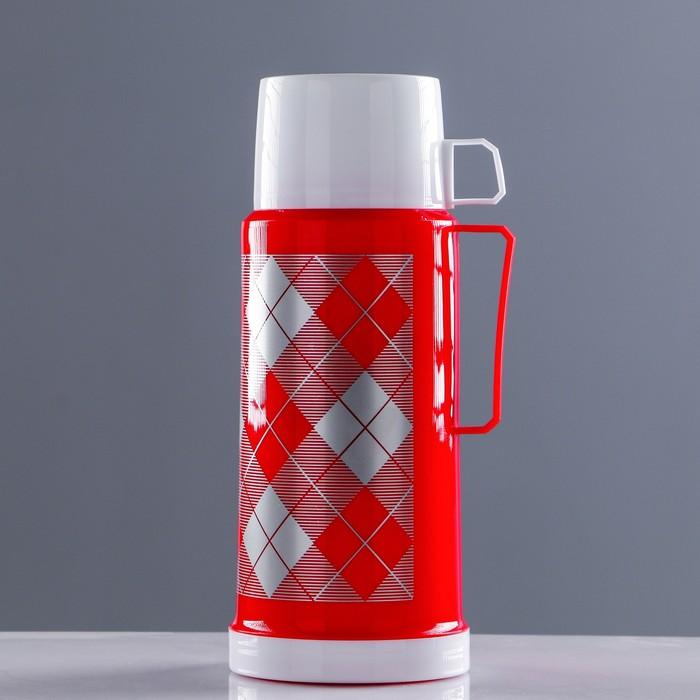"""Термос """"Добрый"""" с 1 кружкой и 1 чашкой, 1 л, сохраняет тепло 8 ч, 12х28 см,  микс"""