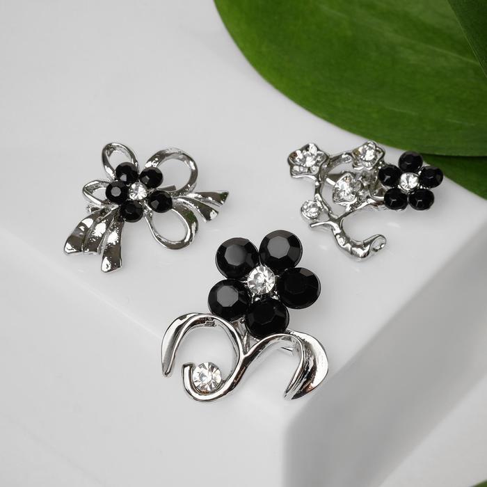 """Брошь """"Цветы"""" мини, форма МИКС, цвет чёрно-белый в серебре"""