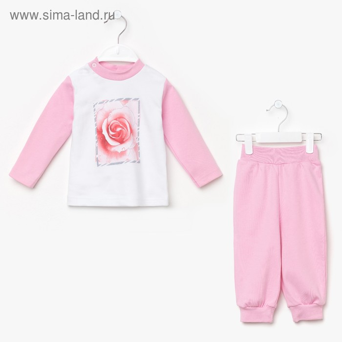 """Пижама для девочки """"Роза"""", рост 92 см (52), цвет розовый 16163"""