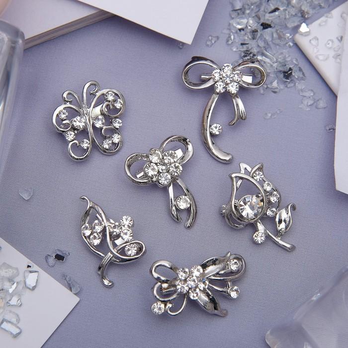 """Brooch """"Flower waltz"""" mini, white in silver"""