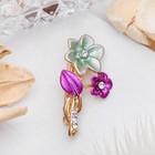 """Брошь """"Цветок незабудка"""" мини, цвет фиолетово-зелёный в золоте"""