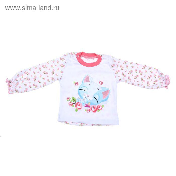 """Кофточка для девочки """"Нежные розы"""", интерлок, рост 68 см, цвет белый+розовый"""