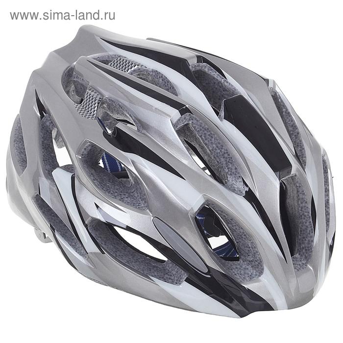 Шлем велосипедиста взрослый ОТ-T28, серый, диаметр 54 см