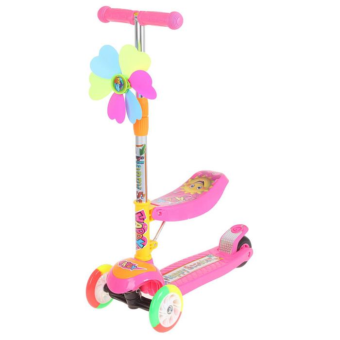 Самокат стальной ОТ-925, световой, колеса PU=120, 100мм, ABEC 7, до 40 кг, цвет розовый