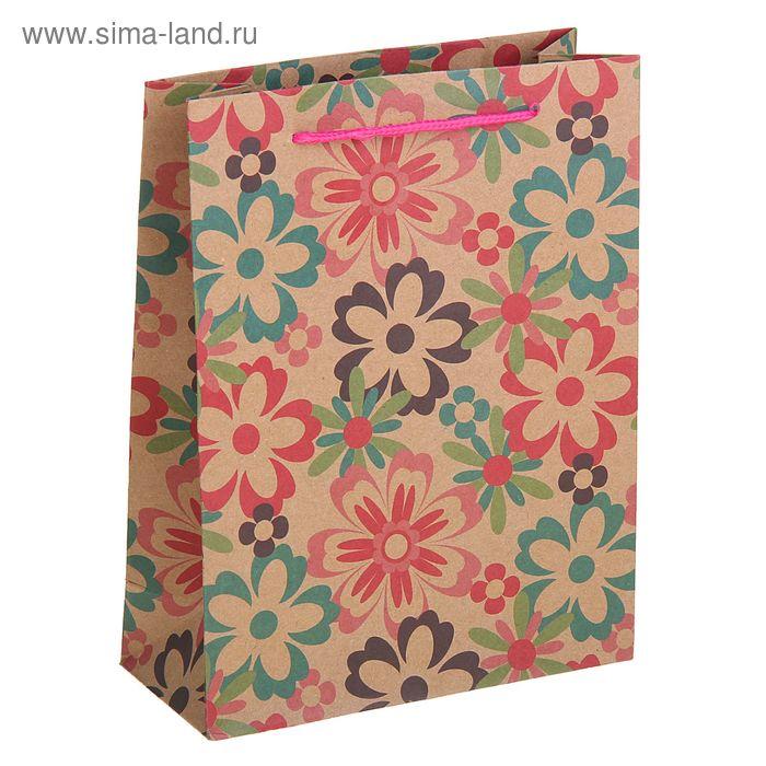 """Пакет крафт """"Летние цветы"""", 31,5 х 10 х 42 см"""
