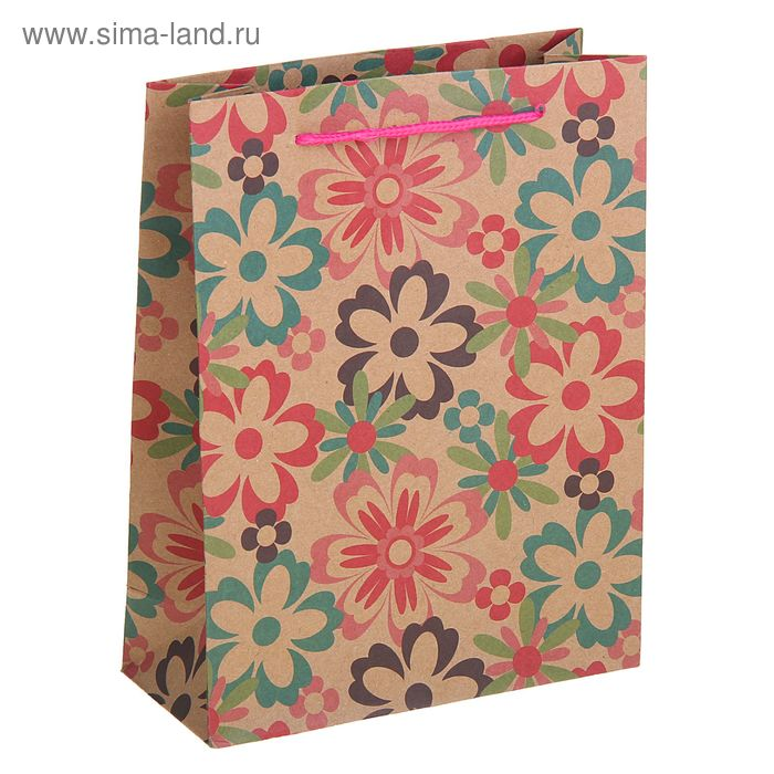"""Пакет крафт """"Летние цветы"""", 19 х 8 х 24 см"""