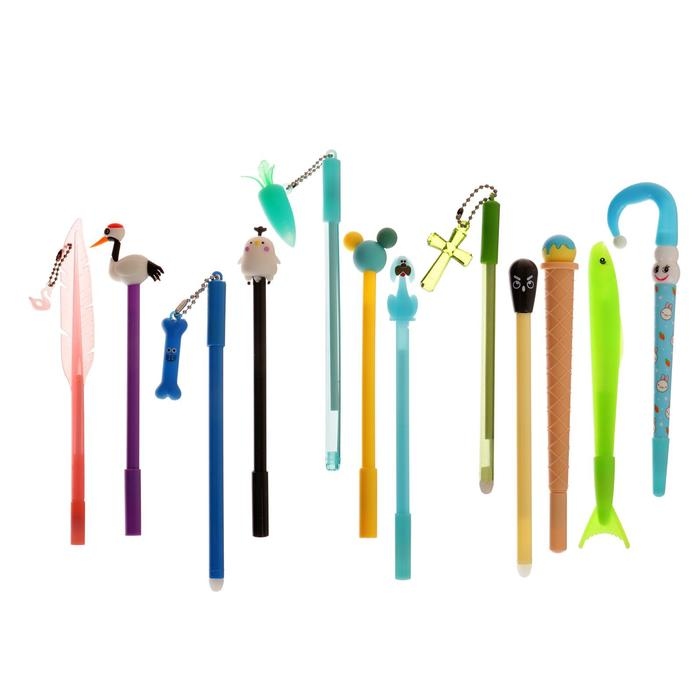 Ручка шариковая-прикол, выпрыгивающая при нажатии на кнопку, ассорти, МИКС